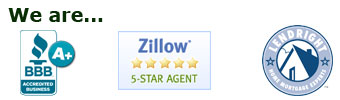 Better Business Bureau A+, Zillow 5-star Agent, Lendright Home Mortgage Expert